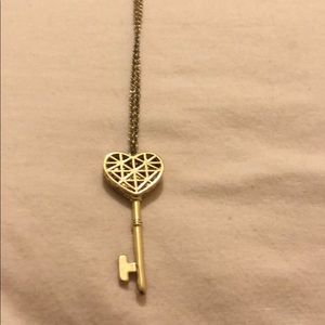 Long heart key necklace